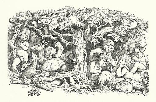 The Seven Swans. Illustration for The Old Story-Teller, Popular German Tales collected by Ludwig Bechstein, with illustrations by Richter (Addey, 1854).
