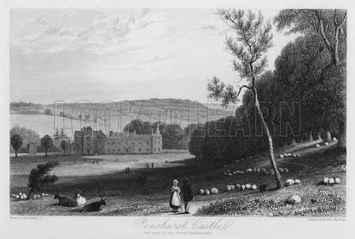 Penshurst Castle, the seat of Sir Philip Sydney. Illustration for Churton's Portrait and Landscape Gallery (2nd series, E Churton, 1839).