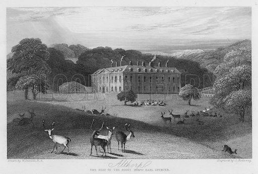 Althorp, the seat of the Earl Spencer. Illustration for Churton's Portrait and Landscape Gallery (2nd series, E Churton, 1839).