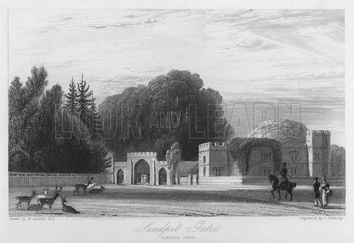 Sandpit Gate, Windsor Park. Illustration for Churton's Portrait and Landscape Gallery (2nd series, E Churton, 1839).