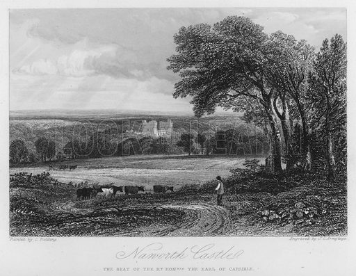 Naworth Castle, the seat of the Earl of Carlisle. Illustration for Churton's Portrait and Landscape Gallery (2nd series, E Churton, 1839).