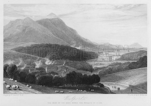 Westport, the seat of the Marquis of Sligo. Illustration for Churton's Portrait and Landscape Gallery (2nd series, E Churton, 1839).