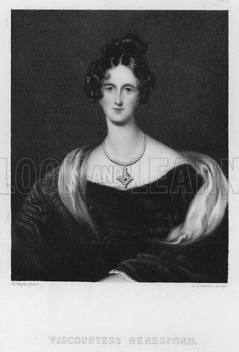 Viscountess Beresford. Illustration for Churton's Portrait and Landscape Gallery (2nd series, E Churton, 1839).