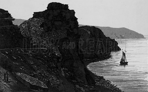 The Castle Rock, Lynton. Illustration for a booklet of views of Ilfracombe and North Devon (Charles Reynolds, c 1895).
