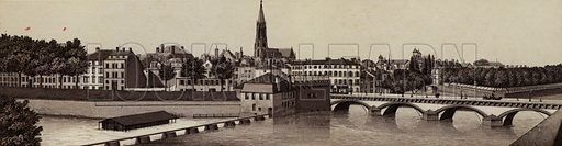 Blick von der Mittel-Brucke aus. Illustration for a booklet of views of Metz with German captions (P Muller, c 1890).