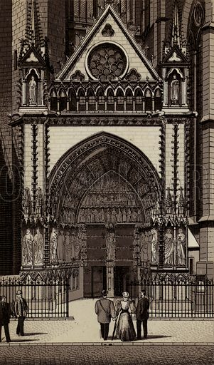 Portal der Kathedrale. Illustration for a booklet of views of Metz with German captions (P Muller, c 1890).