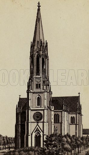 Garnison-Kirche. Illustration for a booklet of views of Metz with German captions (P Muller, c 1890).