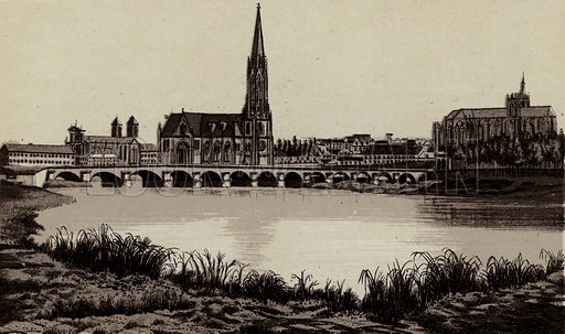 Todten-Brucke. Illustration for a booklet of views of Metz with German captions (P Muller, c 1890).