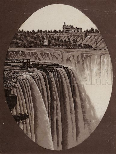 Horse Shoe Fall from Goat Island. Illustration for Tugby's Illustrated Guide to Niagara Falls (1889).