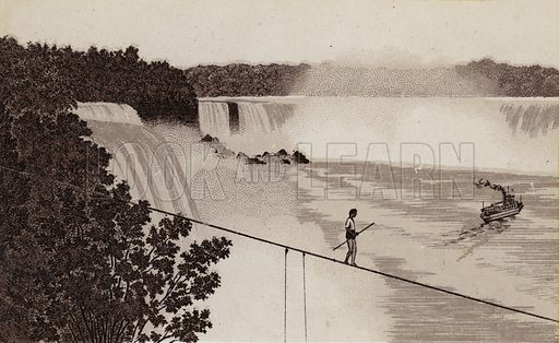 Crossing Niagara on a tight Rope and Maid of the Mist. Illustration for Tugby's Illustrated Guide to Niagara Falls (1889).