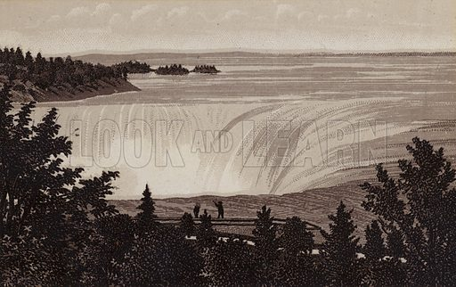 Horseshoe Fall and Three sister Island. Illustration for Tugby's Illustrated Guide to Niagara Falls (1889).