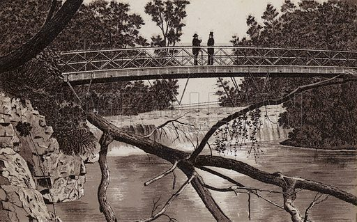Bridge to First Sister Island. Illustration for Tugby's Illustrated Guide to Niagara Falls (1889).