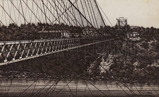 The new Suspension Bridge. Illustration for Tugby's Illustrated Guide to Niagara Falls (1889).