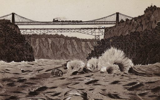 Whirlpool Rapids, Railway Suspension Bridge and Cantilever Bridge. Illustration for Tugby's Illustrated Guide to Niagara Falls (1889).