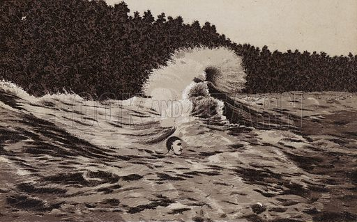 Swimming the Whirlpool Rapids. Illustration for Tugby's Illustrated Guide to Niagara Falls (1889).