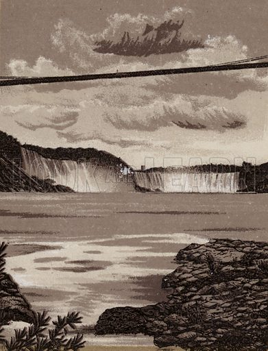 New Suspension Bridge and Falls. Illustration for Tugby's Illustrated Guide to Niagara Falls (1889).