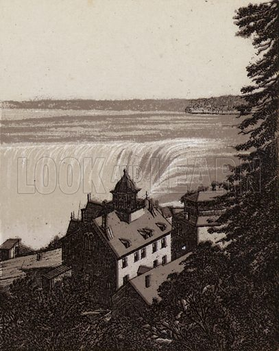 Bird's eye View of Horseshoe Fall. Illustration for Tugby's Illustrated Guide to Niagara Falls (1889).