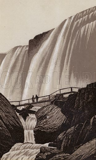 Whirlwind Bridge, Cave of the Winds. Illustration for Tugby's Illustrated Guide to Niagara Falls (1889).