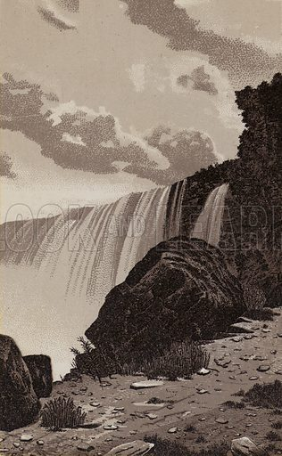 Horseshoe Fall and Remains of Table Rock. Illustration for Tugby's Illustrated Guide to Niagara Falls (1889).