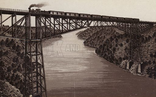 Cantilever Bridge, Michigan Central RR. Illustration for Tugby's Illustrated Guide to Niagara Falls (1889).