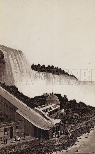 Below Prospect Park. Illustration for Tugby's Illustrated Guide to Niagara Falls (1889).