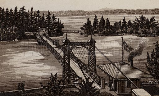 Bridge to Burning Springs and Clark Hill Islands. Illustration for Tugby's Illustrated Guide to Niagara Falls (1889).