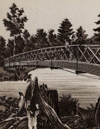 Bridge to Second Sister Island. Illustration for Tugby's Illustrated Guide to Niagara Falls (1889).