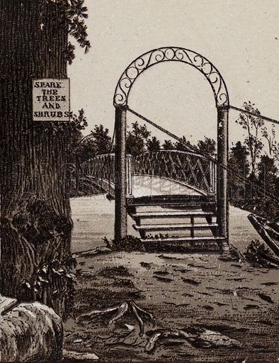 Bridge to Third Sister Island. Illustration for Tugby's Illustrated Guide to Niagara Falls (1889).