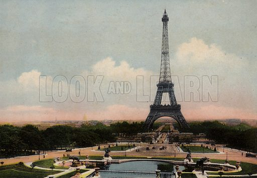 La Tour Eiffel, The Eiffel Tower. Illustration for Souvenir de Paris, Photographies en Couleurs (LIP, c 1914).