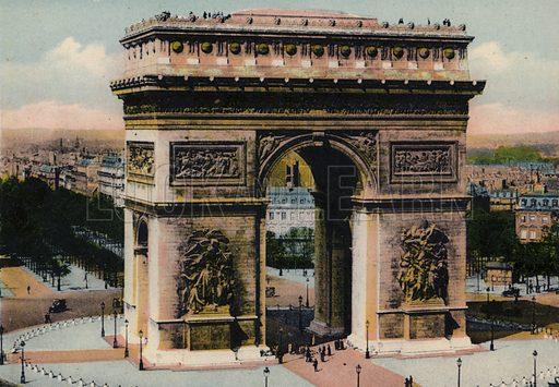 L'Arc de Triomphe de l'Etoile, The Arch of Triumph. Illustration for Souvenir de Paris, Photographies en Couleurs (LIP, c 1914).