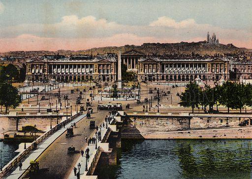 Panorama de la Place de la Concorde, Panorama of Place de la Concorde. Illustration for Souvenir de Paris, Photographies en Couleurs (LIP, c 1914).