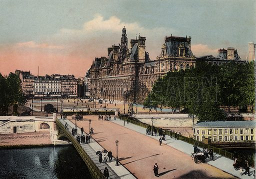 L'Hotel de Ville et le Pont d'Arcole, The Town Hall and Arcole bridge. Illustration for Souvenir de Paris, Photographies en Couleurs (LIP, c 1914).