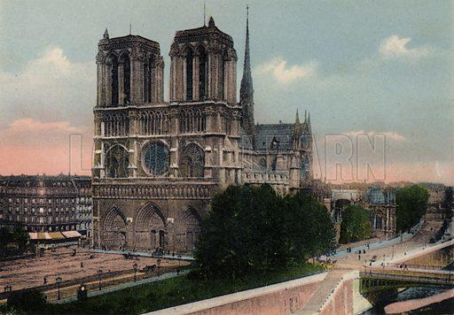 Notre-Dame, The Church of Notre-Dame. Illustration for Souvenir de Paris, Photographies en Couleurs (LIP, c 1914).