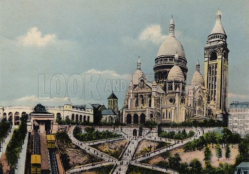 Le Sacre-Coeur de Montmartre, Sacre-Coeur Basilica of Montmartre. Illustration for Souvenir de Paris, Photographies en Couleurs (LIP, c 1914).