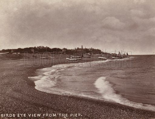 Birds Eye View from the Pier. Illustration for 12 Picturesque Permanent Photographs of Southwold (J Chapman, Southwold, c 1890).
