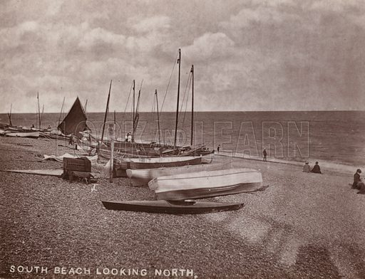 South Beach Looking North. Illustration for 12 Picturesque Permanent Photographs of Southwold (J Chapman, Southwold, c 1890).