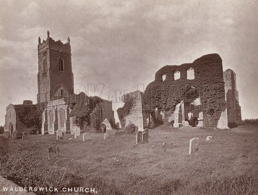 Walberswick Church. Illustration for 12 Picturesque Permanent Photographs of Southwold (J Chapman, Southwold, c 1890).