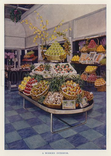 A modern interior. Illustration for The Practical Fruiterer and Florist edited by W B Shearn (George Newnes, 1935).