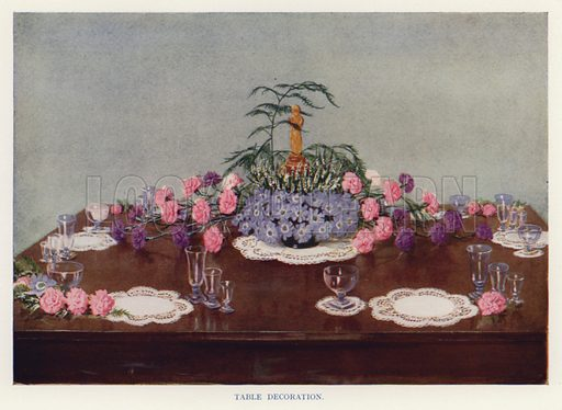 Table decoration. Illustration for The Practical Fruiterer and Florist edited by W B Shearn (George Newnes, 1935).