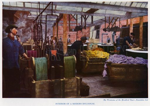 Interior of a modern dye-house. Illustration for The Practical Retail Draper, A Complete Guide for the Drapery and Allied Trades, by Fred W Burgess (Virtue, c 1912).