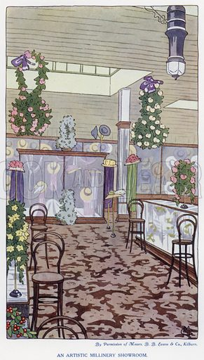 An artistic millinery showroom. Illustration for The Practical Retail Draper, A Complete Guide for the Drapery and Allied Trades, by Fred W Burgess (Virtue, c 1912).