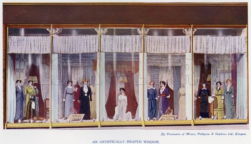 An artistically draped window. Illustration for The Practical Retail Draper, A Complete Guide for the Drapery and Allied Trades, by Fred W Burgess (Virtue, c 1912).