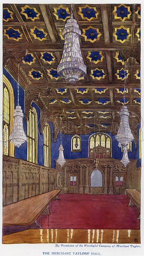 The Merchant Taylors' Hall. Illustration for The Practical Retail Draper, A Complete Guide for the Drapery and Allied Trades, by Fred W Burgess (Virtue, c 1912).