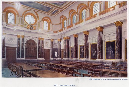 The Drapers' Hall. Illustration for The Practical Retail Draper, A Complete Guide for the Drapery and Allied Trades, by Fred W Burgess (Virtue, c 1912).