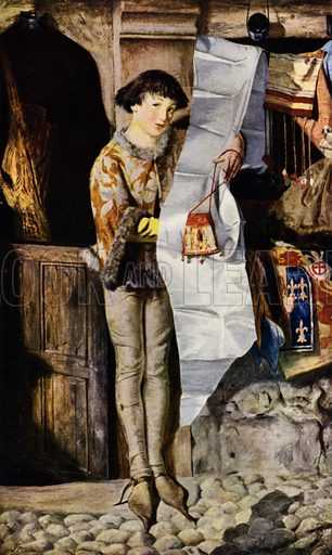 """What D'Ye Lack, Madam? What D'Ye Lack?"" Boy outside a draper's shop in the Middle Ages promoting his wares.  Illustration for The Practical Retail Draper, A Complete Guide for the Drapery and Allied Trades, by Fred W Burgess (Virtue, c 1912)."