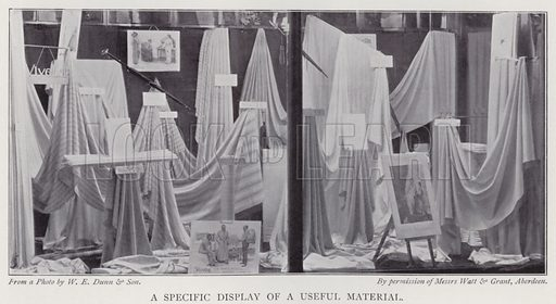 A specific display of a useful material. Illustration for The Practical Retail Draper, A Complete Guide for the Drapery and Allied Trades, by Fred W Burgess (Virtue, c 1912).