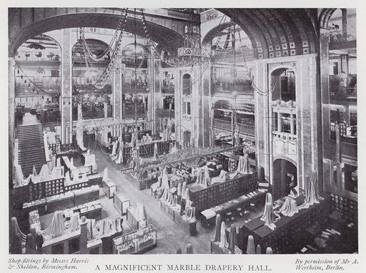 A magnificent marble drapery hall. Illustration for The Practical Retail Draper, A Complete Guide for the Drapery and Allied Trades, by Fred W Burgess (Virtue, c 1912).