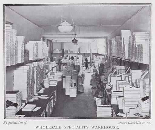 Wholesale speciality warehouse. Illustration for The Practical Retail Draper, A Complete Guide for the Drapery and Allied Trades, by Fred W Burgess (Virtue, c 1912).
