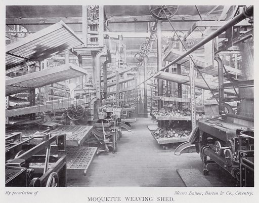 Moquette weaving shed. Illustration for The Practical Retail Draper, A Complete Guide for the Drapery and Allied Trades, by Fred W Burgess (Virtue, c 1912).