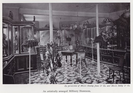 An artistically arranged millinery showroom. Illustration for The Practical Retail Draper, A Complete Guide for the Drapery and Allied Trades, by Fred W Burgess (Virtue, c 1912).